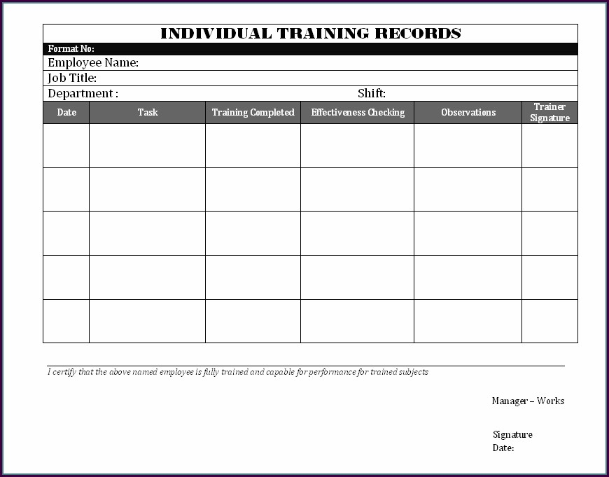 Iso 9001 Training Record Template