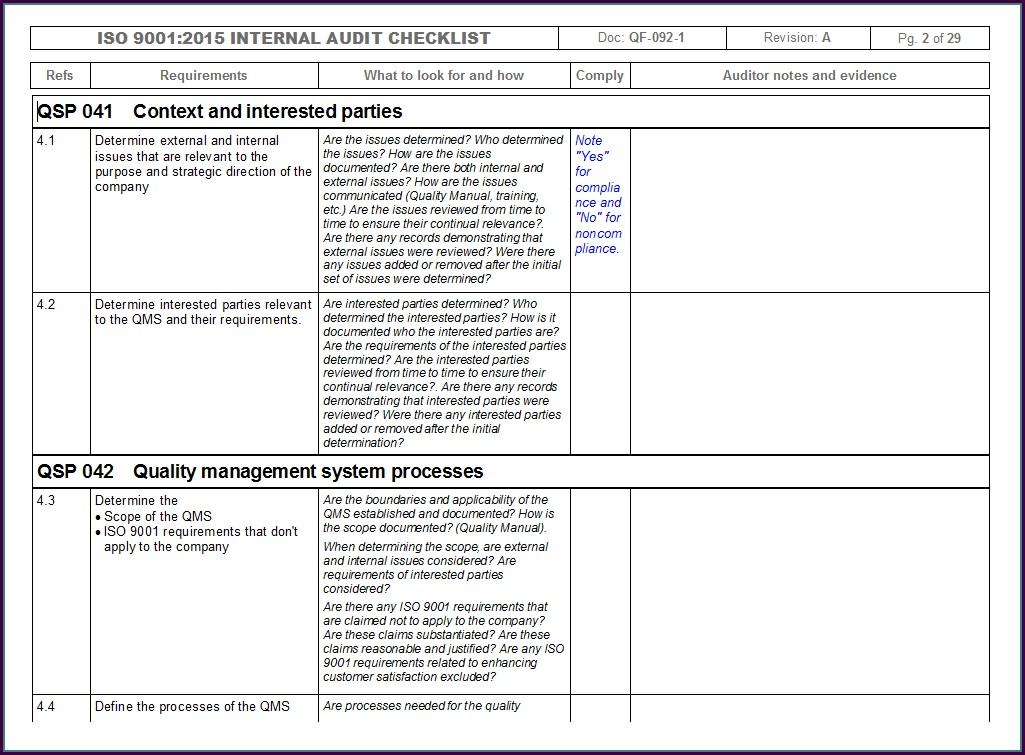 Iso Internal Audit Checklist Template
