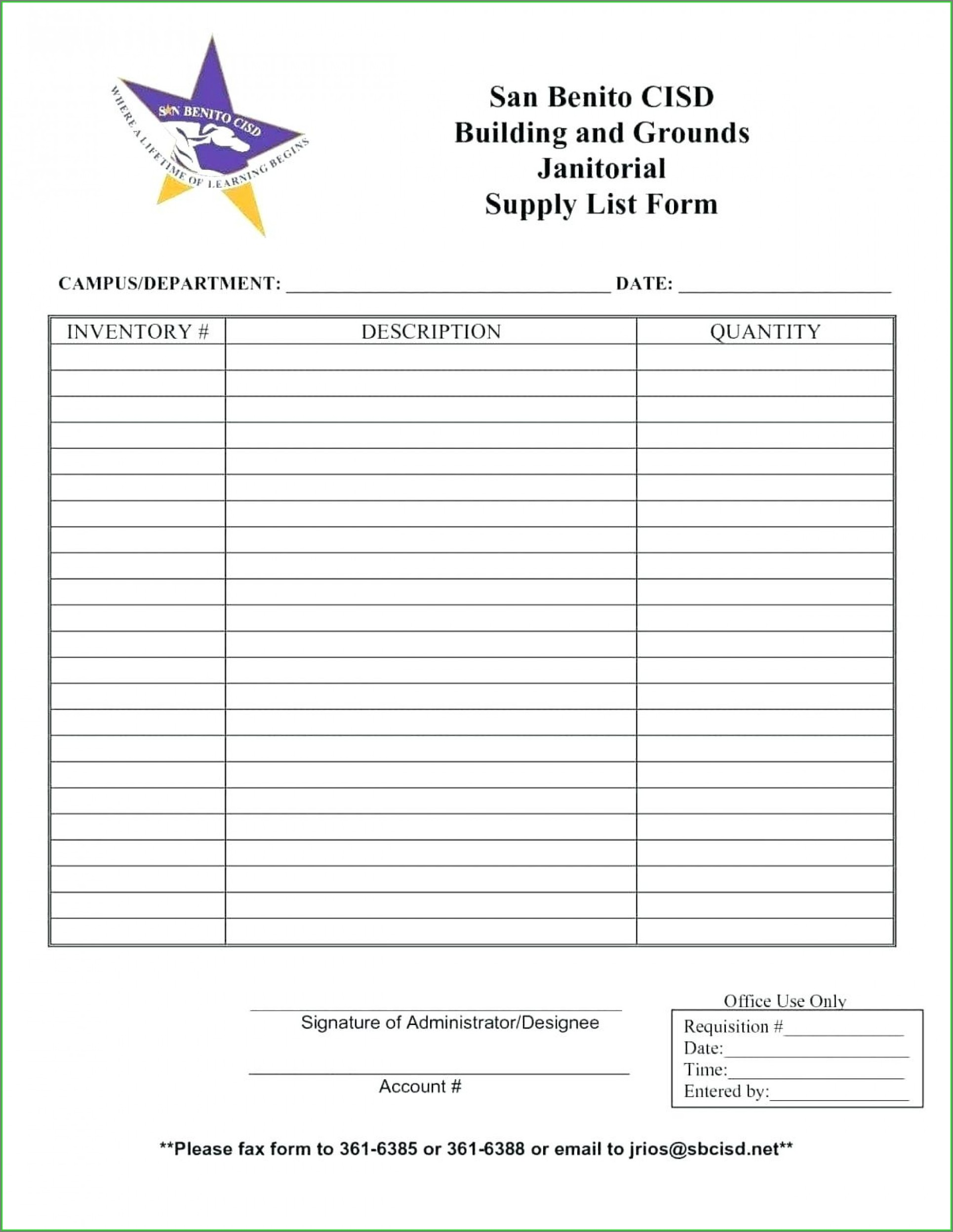 Janitorial Schedule Template