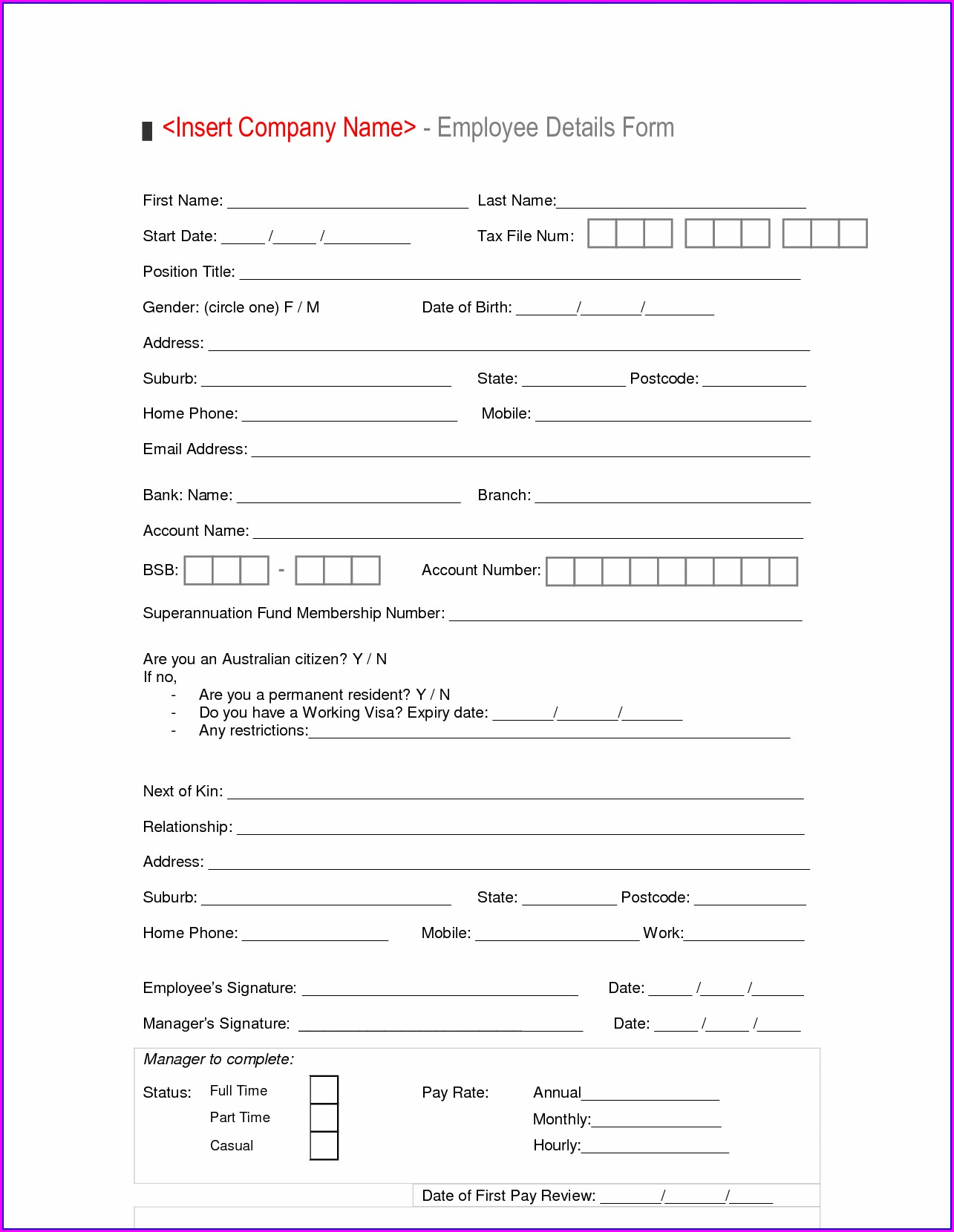 Job Evaluation Form Template