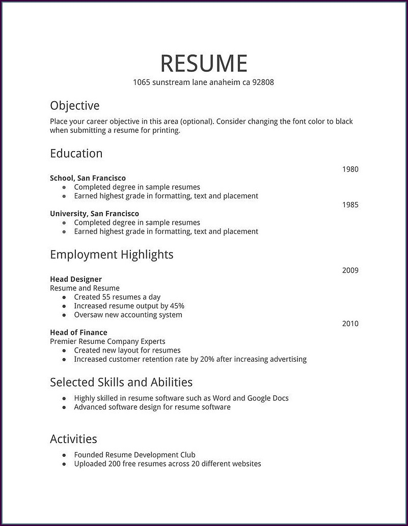 Job Simple Resume Template Pdf