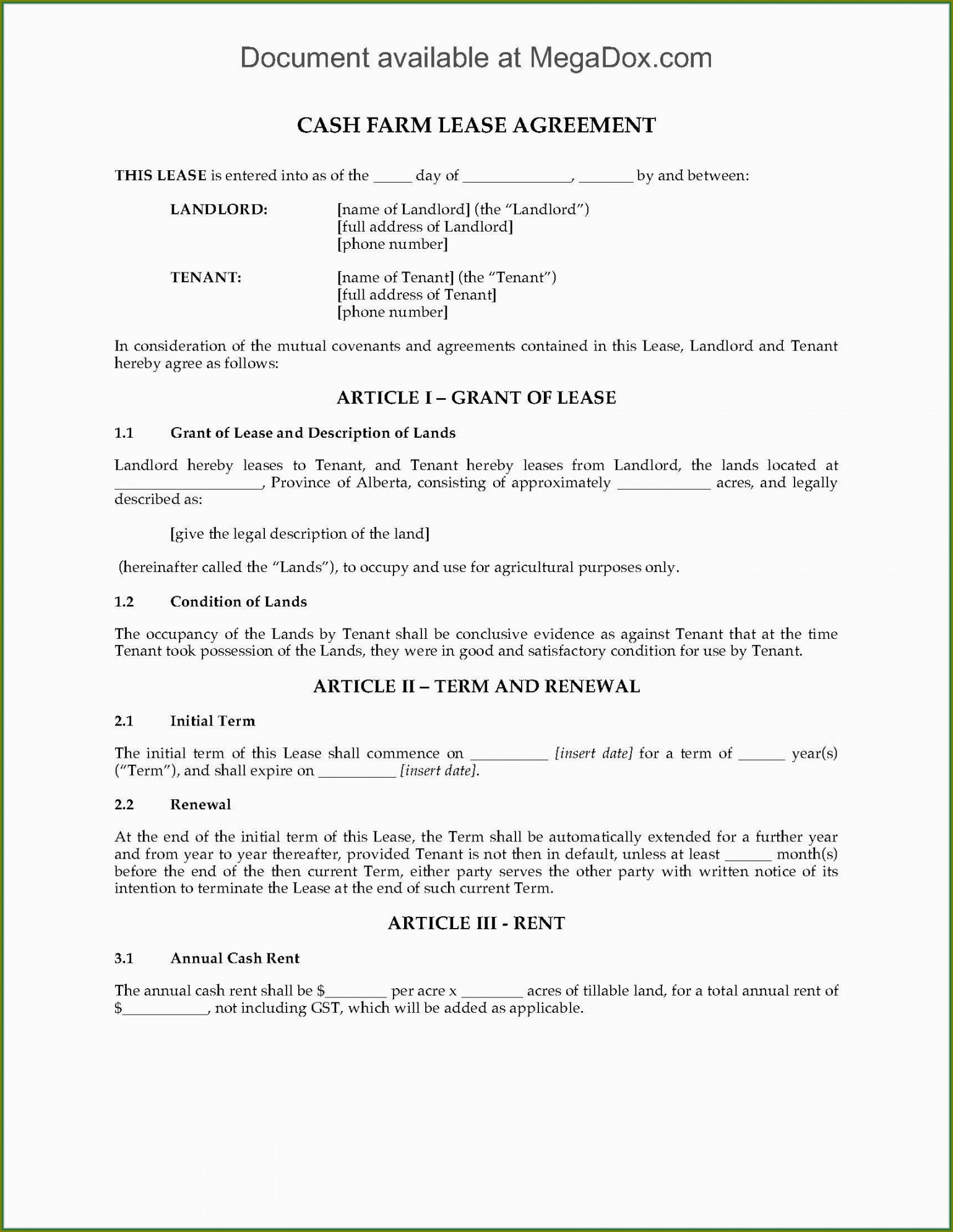 Land Lease Agreement Template Free