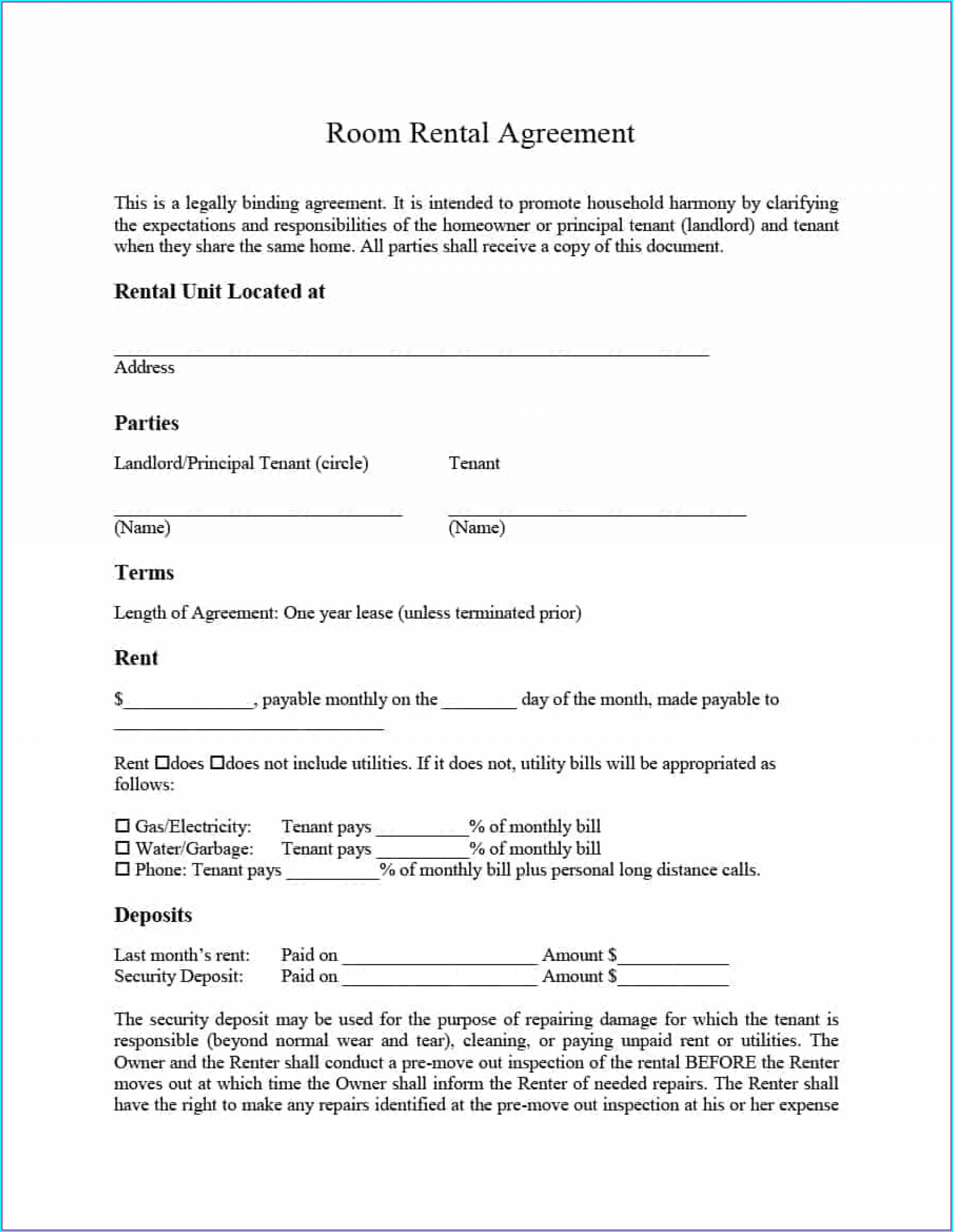 Landlord Printable Tenancy Agreement Template