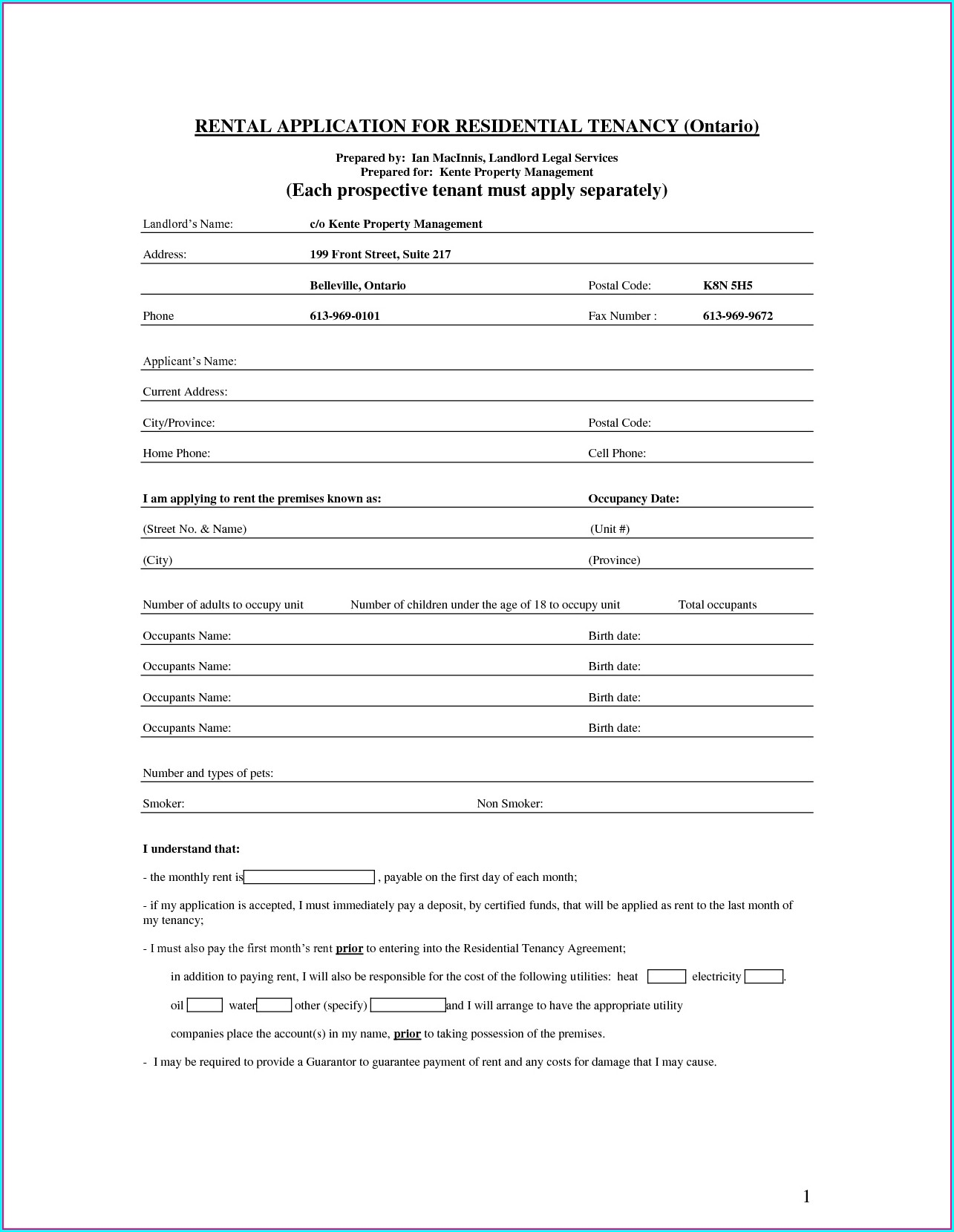 Landlord Tenant Lease Agreement Template