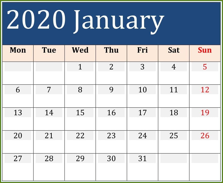 Large Print 2020 Calendar Template With Holidays