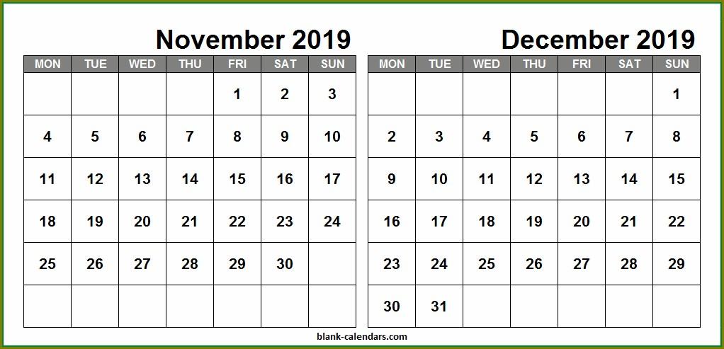 Large Print Calendar Template December 2019