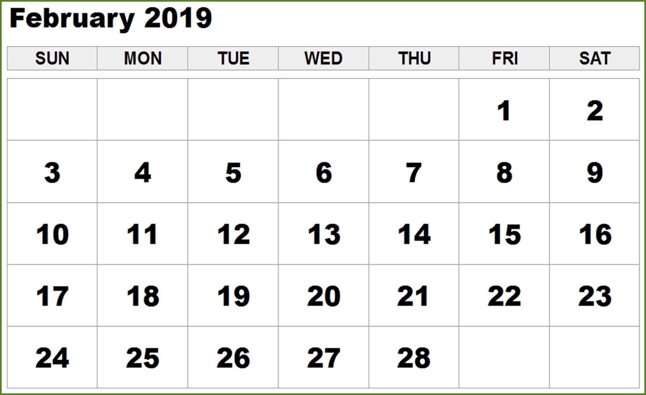 Large Print Calendar Template