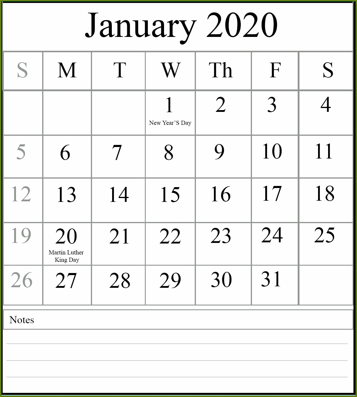 Large Print January 2020 Calendar Template