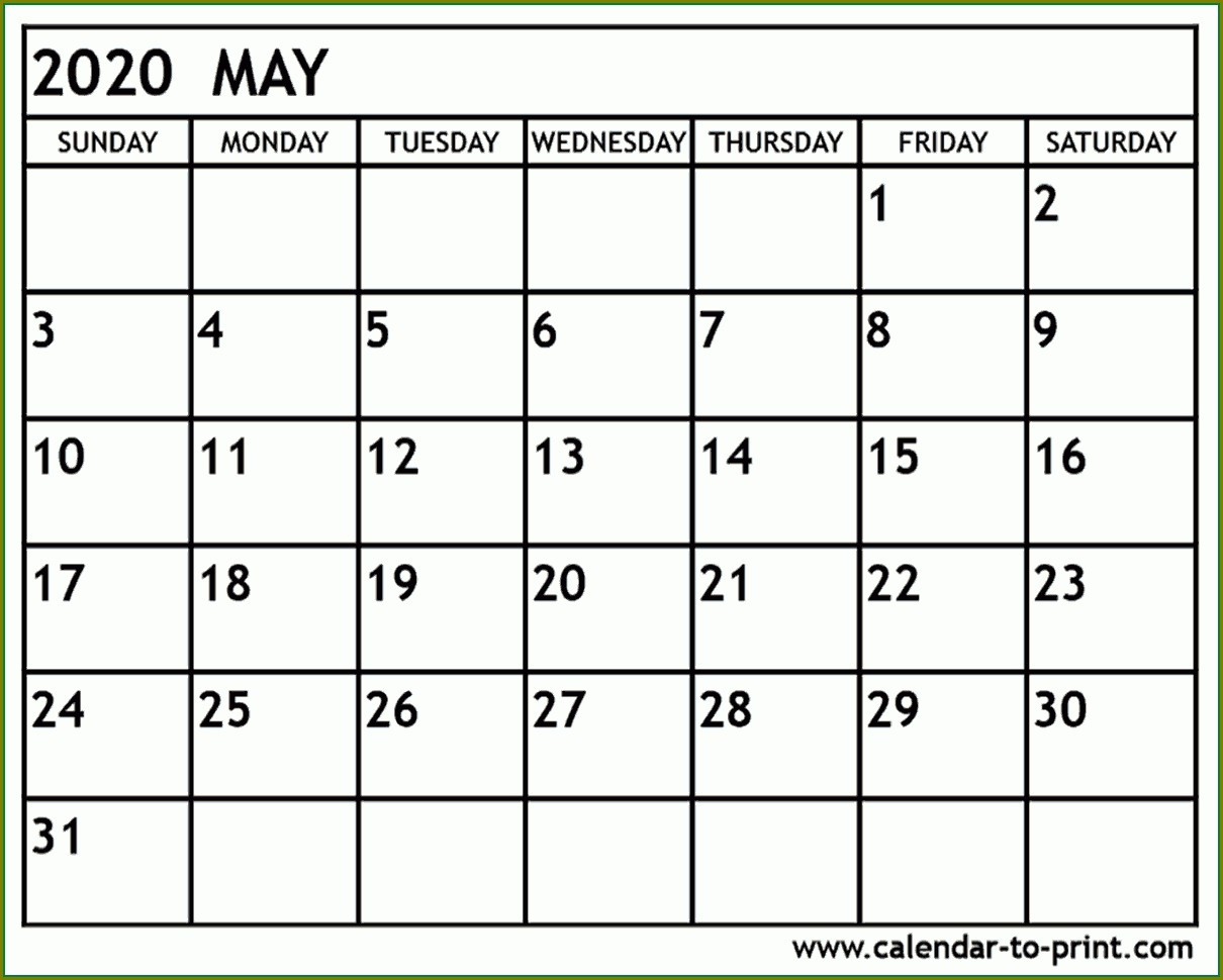 Large Print Printable 2020 Calendar Template