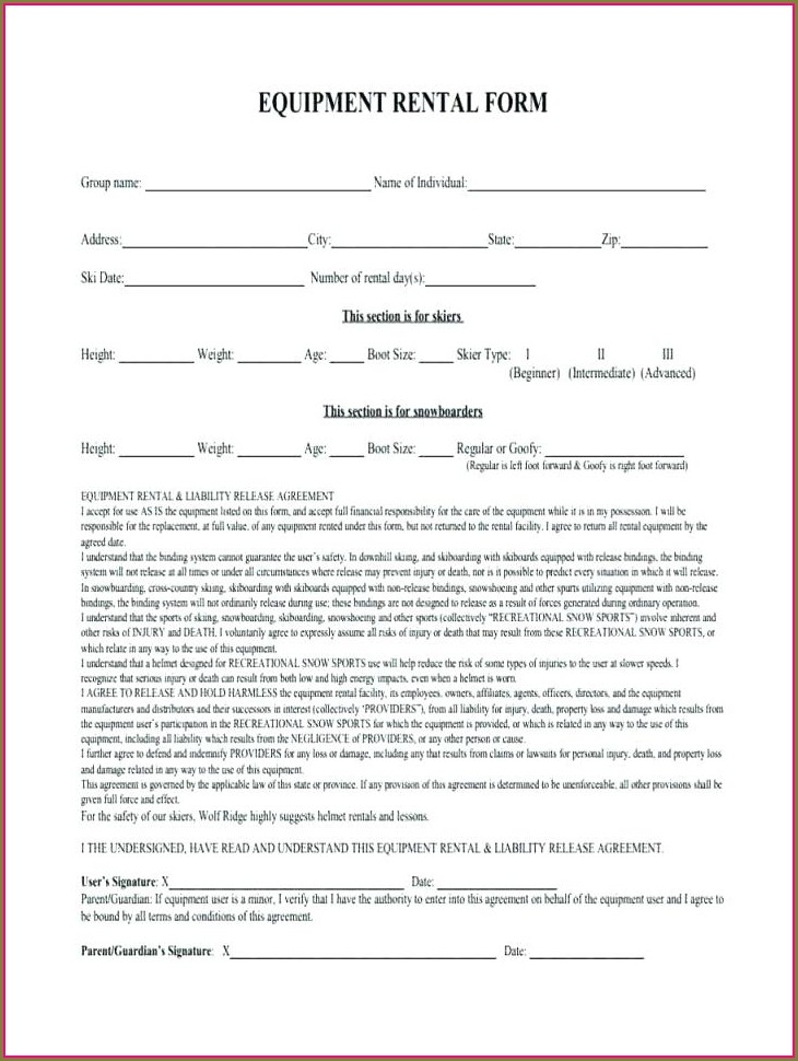 Lease Agreement For Equipment Rental Template