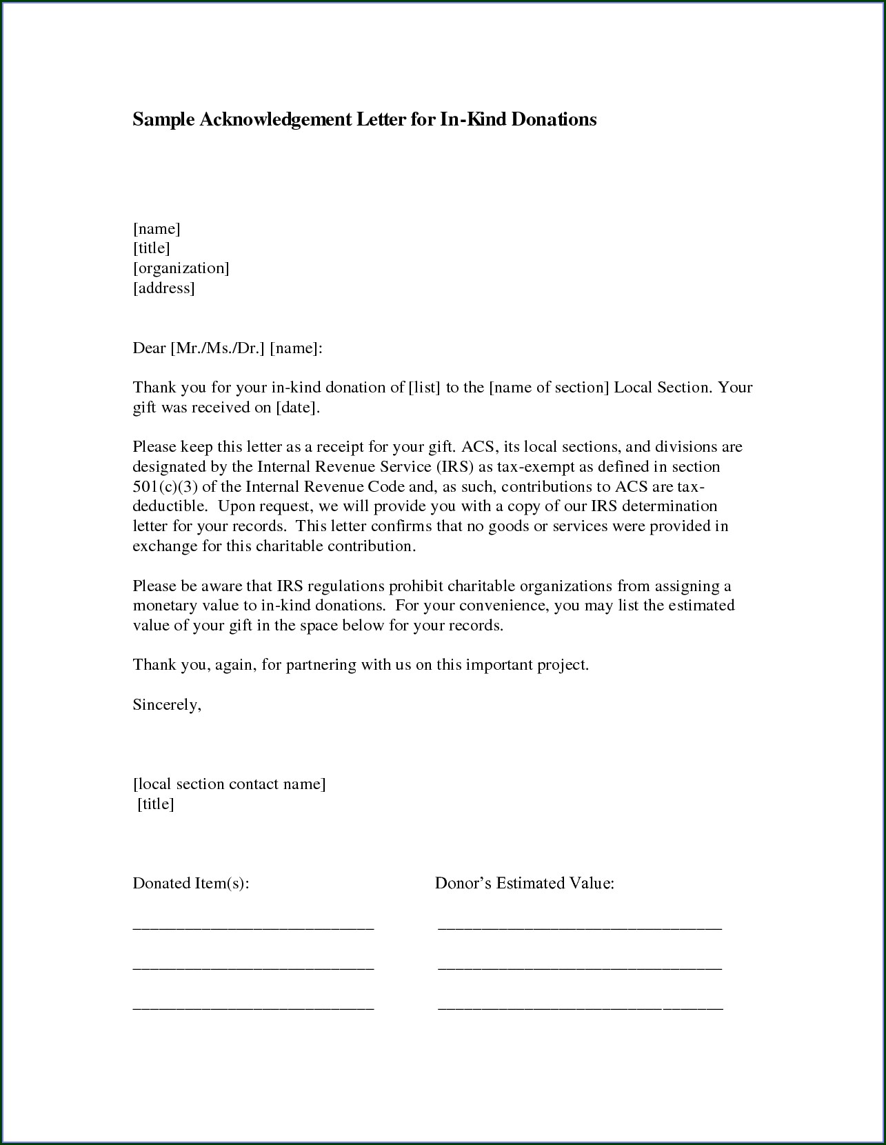 Letter Of Donation Template