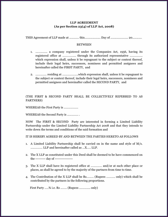 Llp Agreement Template