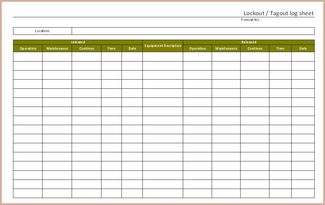 Lockout Tagout Register Template
