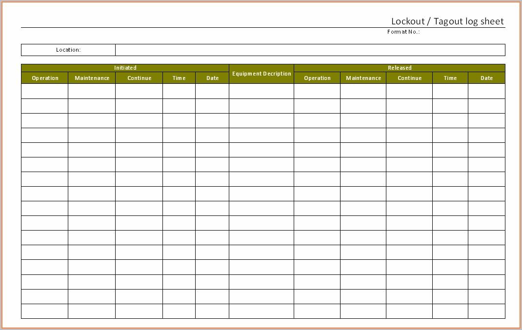 Lockout Tagout Register Template