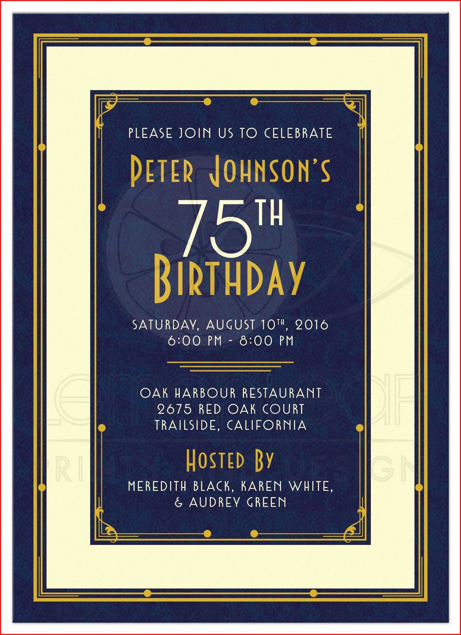 Male 80th Birthday Invitation Template
