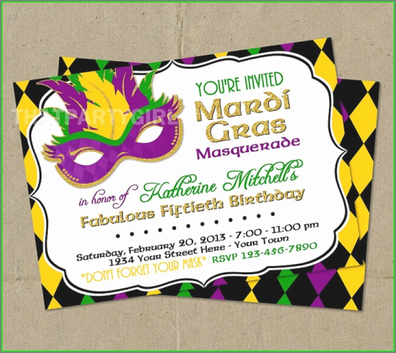 Mardi Gras Invitation Template Free