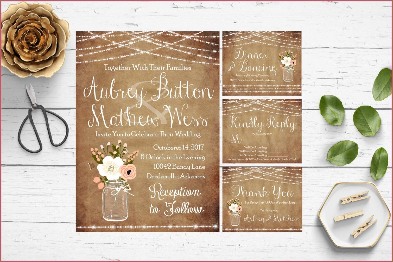 Mason Jar Wedding Invitation Templates