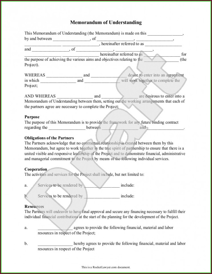 Memorandum Of Understanding Template Free Download Australia