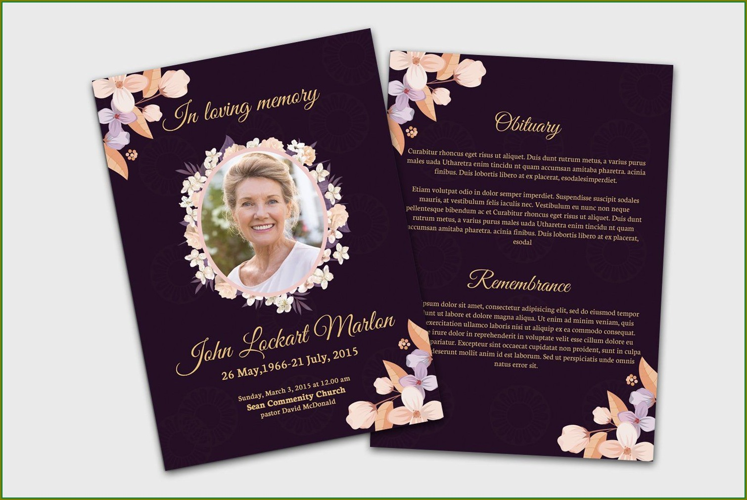 Memorial Card Template Word