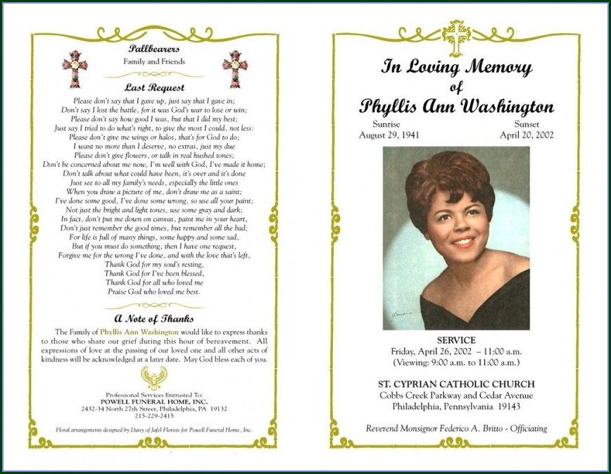 Memorial Pamphlet Template Free