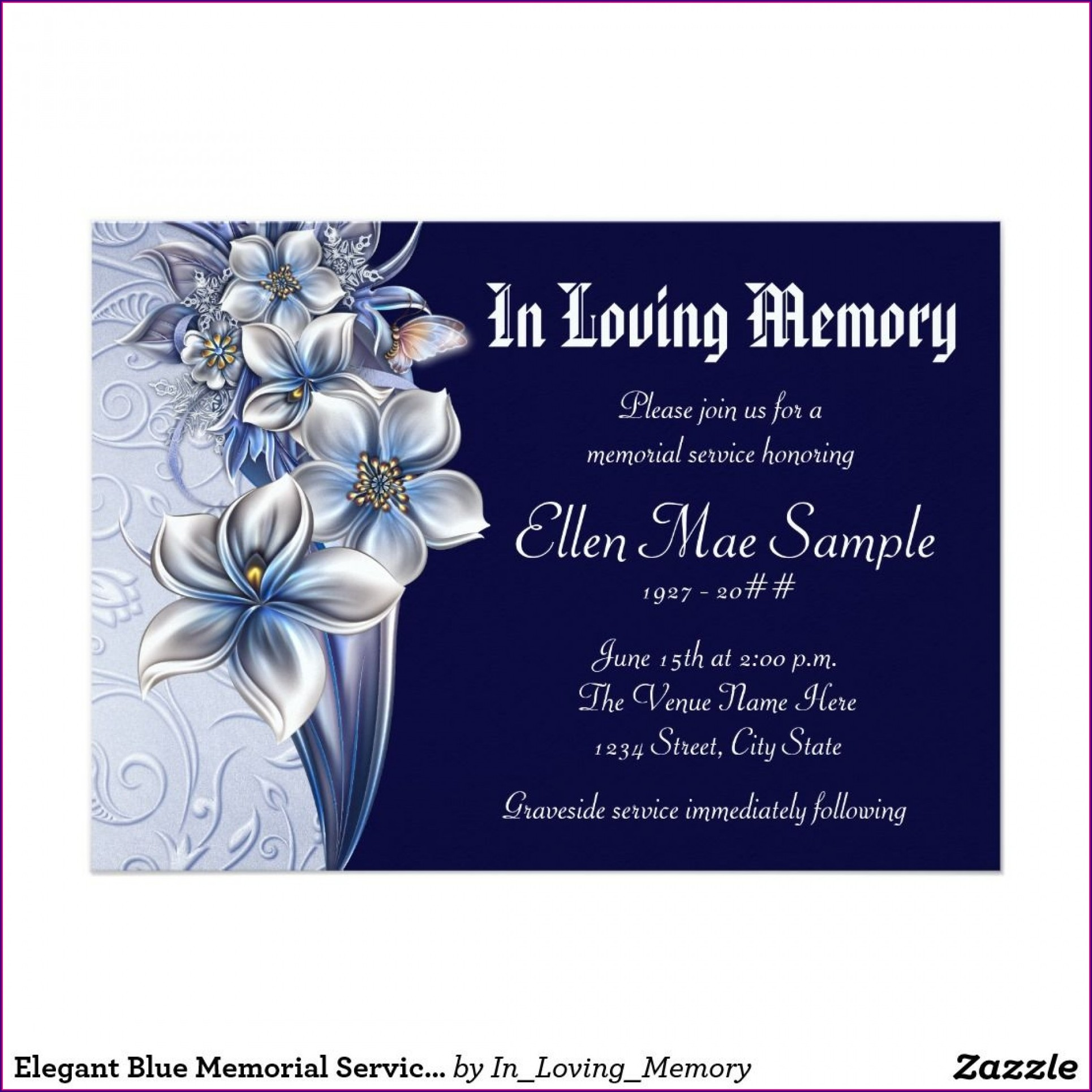 Memorial Service Announcement Template