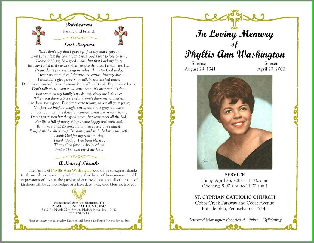 Memorial Service Program Template Free