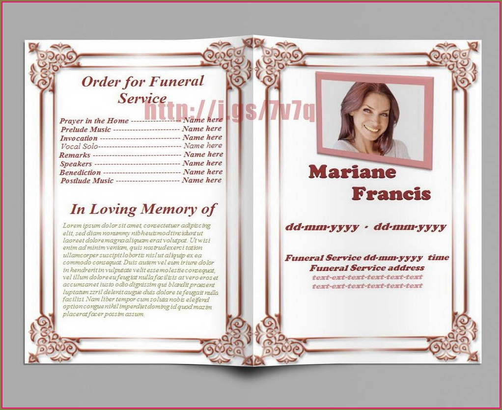 Memorial Service Program Template Microsoft Word Free