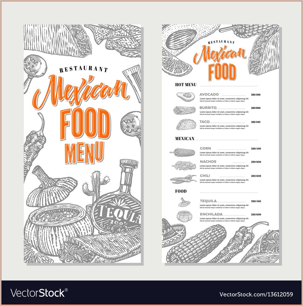 Mexican Restaurant Menu Template Free