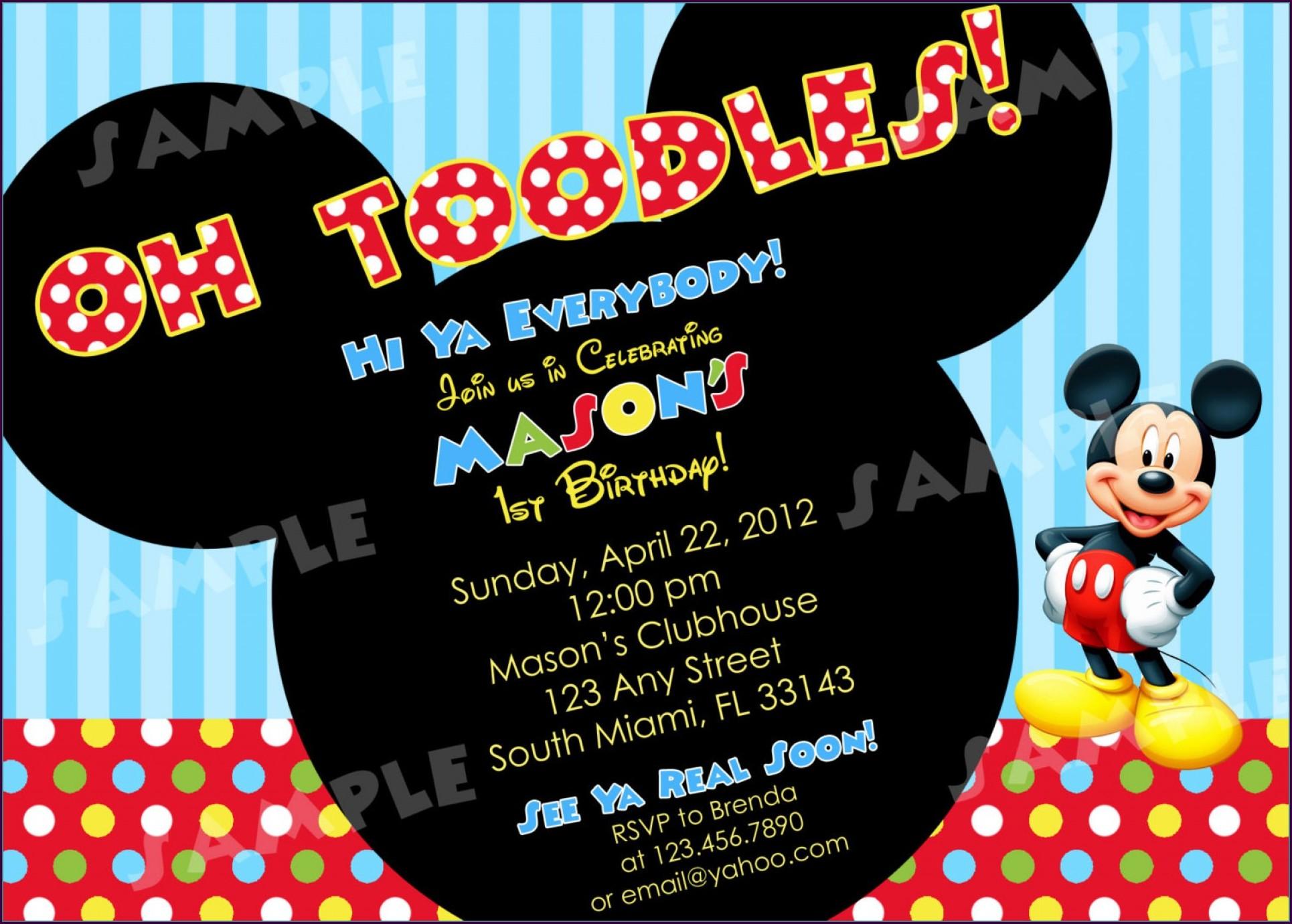 Mickey Mouse Birthday Party Invitation Templates