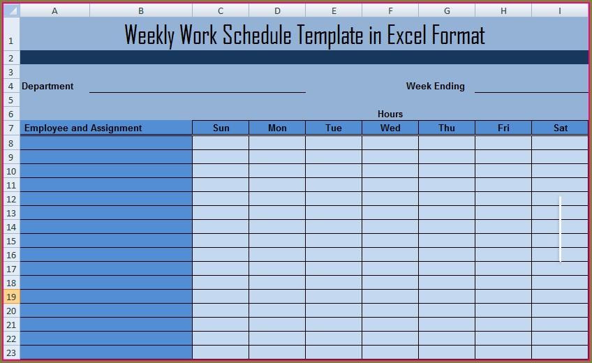 Microsoft Excel Work Schedule Template