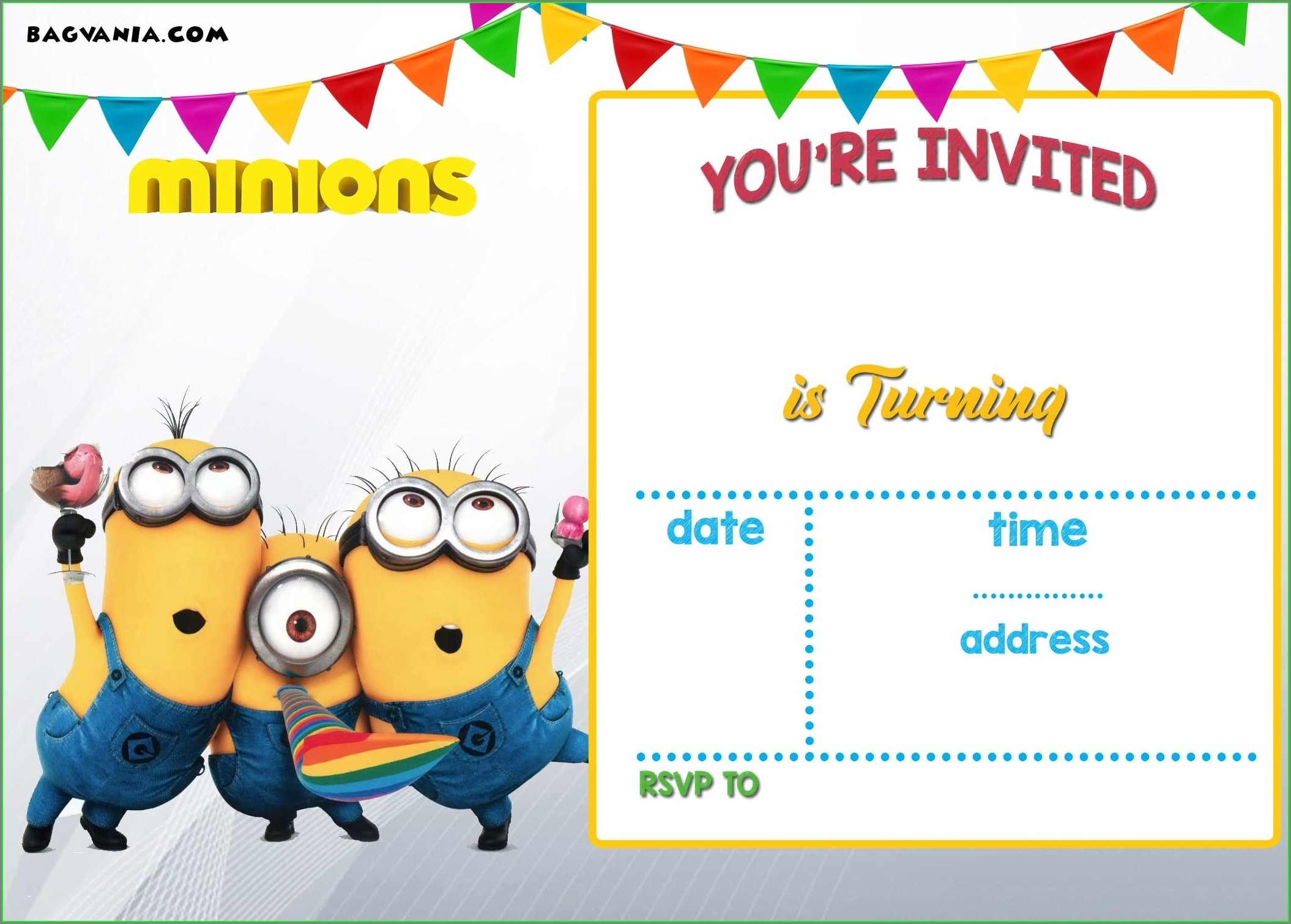 Minions Birthday Invitation Card Template