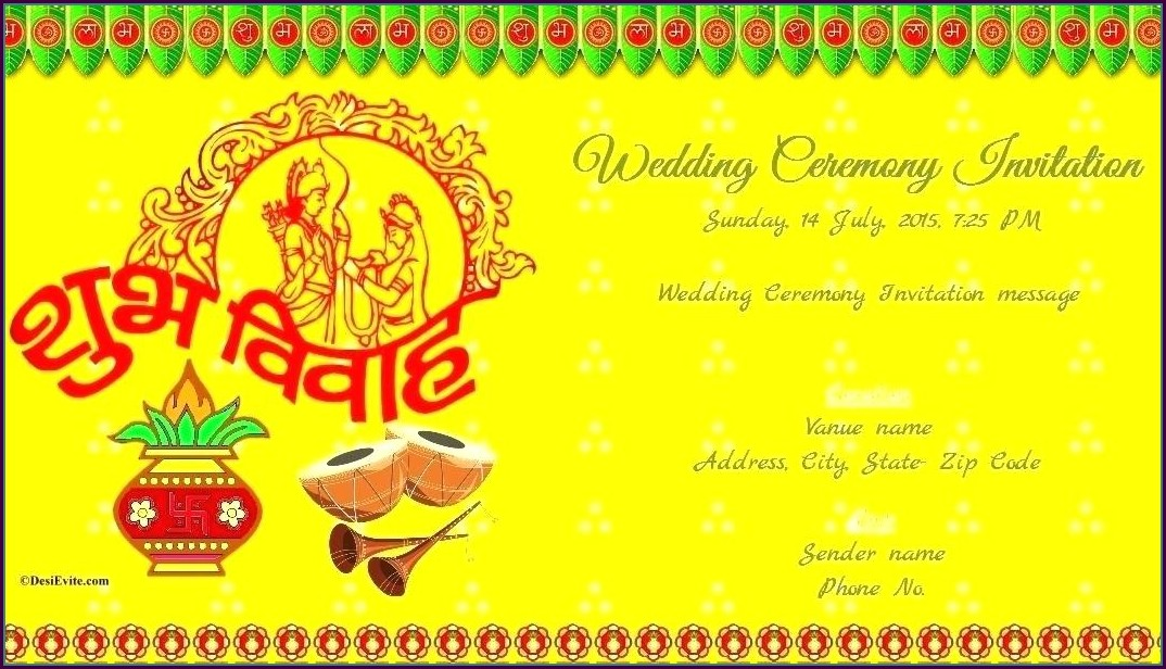 Modern Hindu Wedding Card Templates