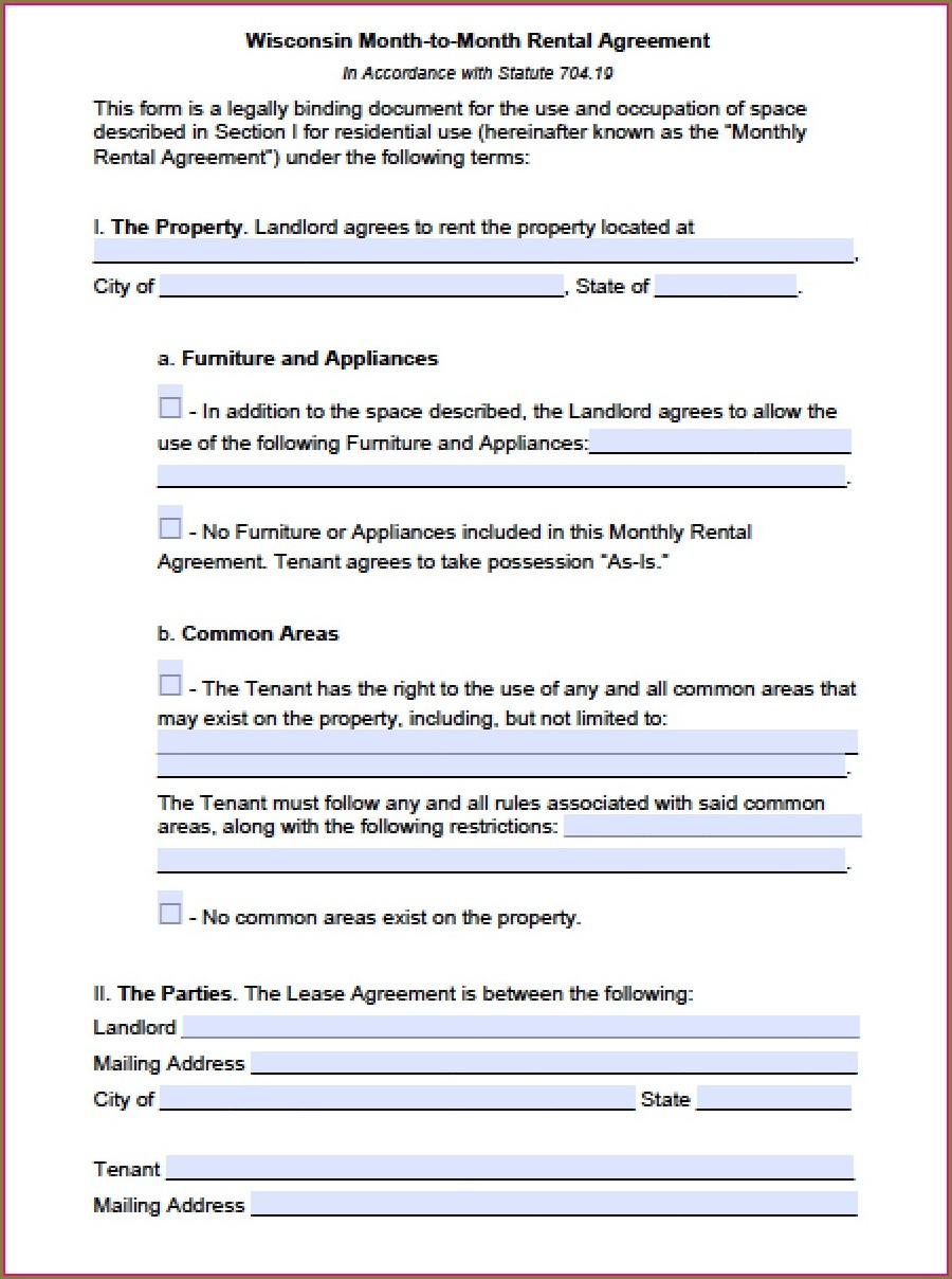 Month To Month Rental Lease Agreement Template