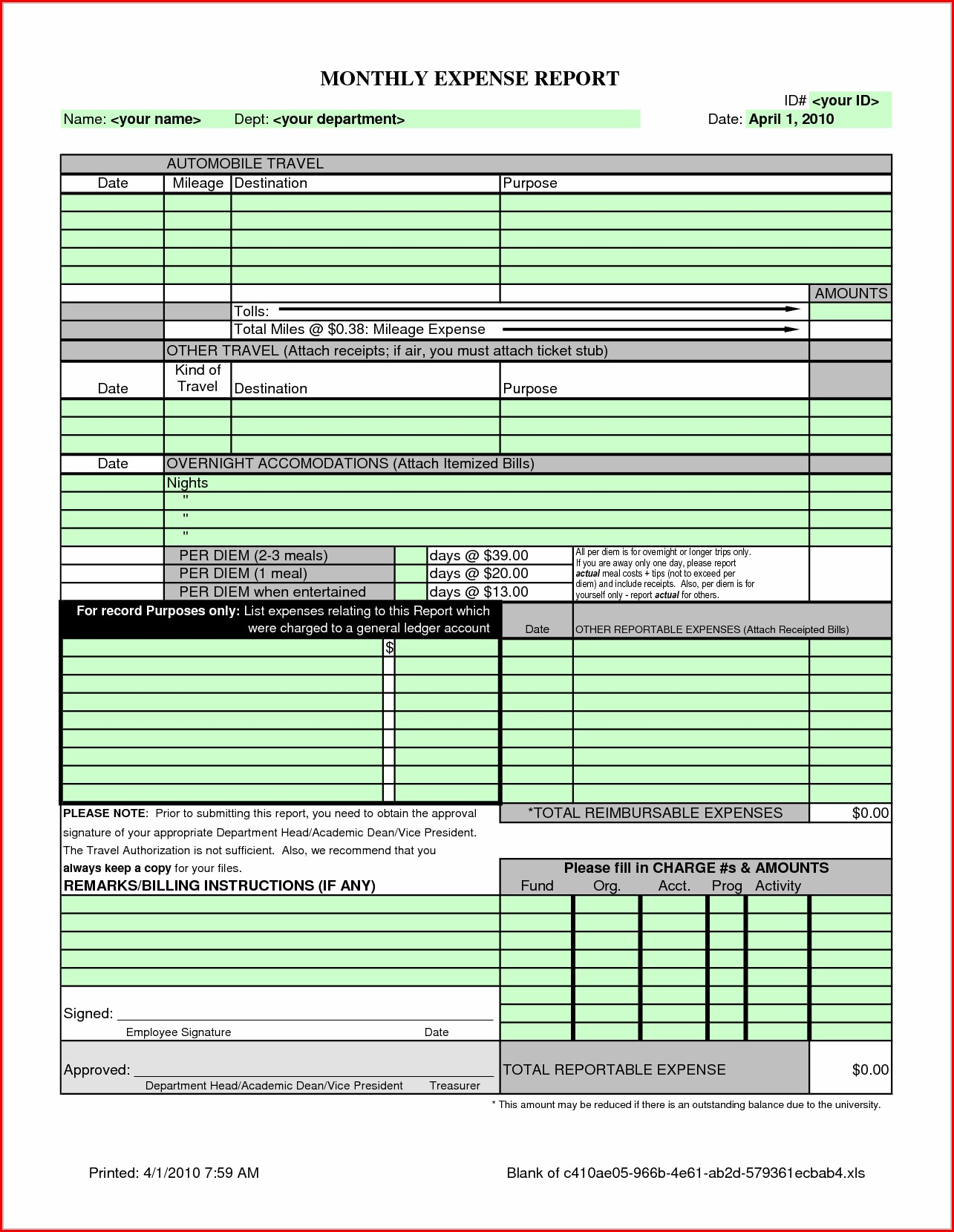 Monthly Business Expense Report Template Excel
