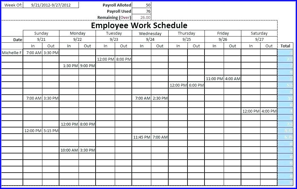 Monthly Staff Schedule Template Excel