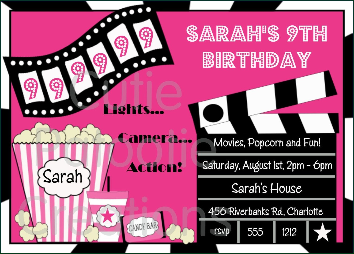 Movie Birthday Invitation Templates