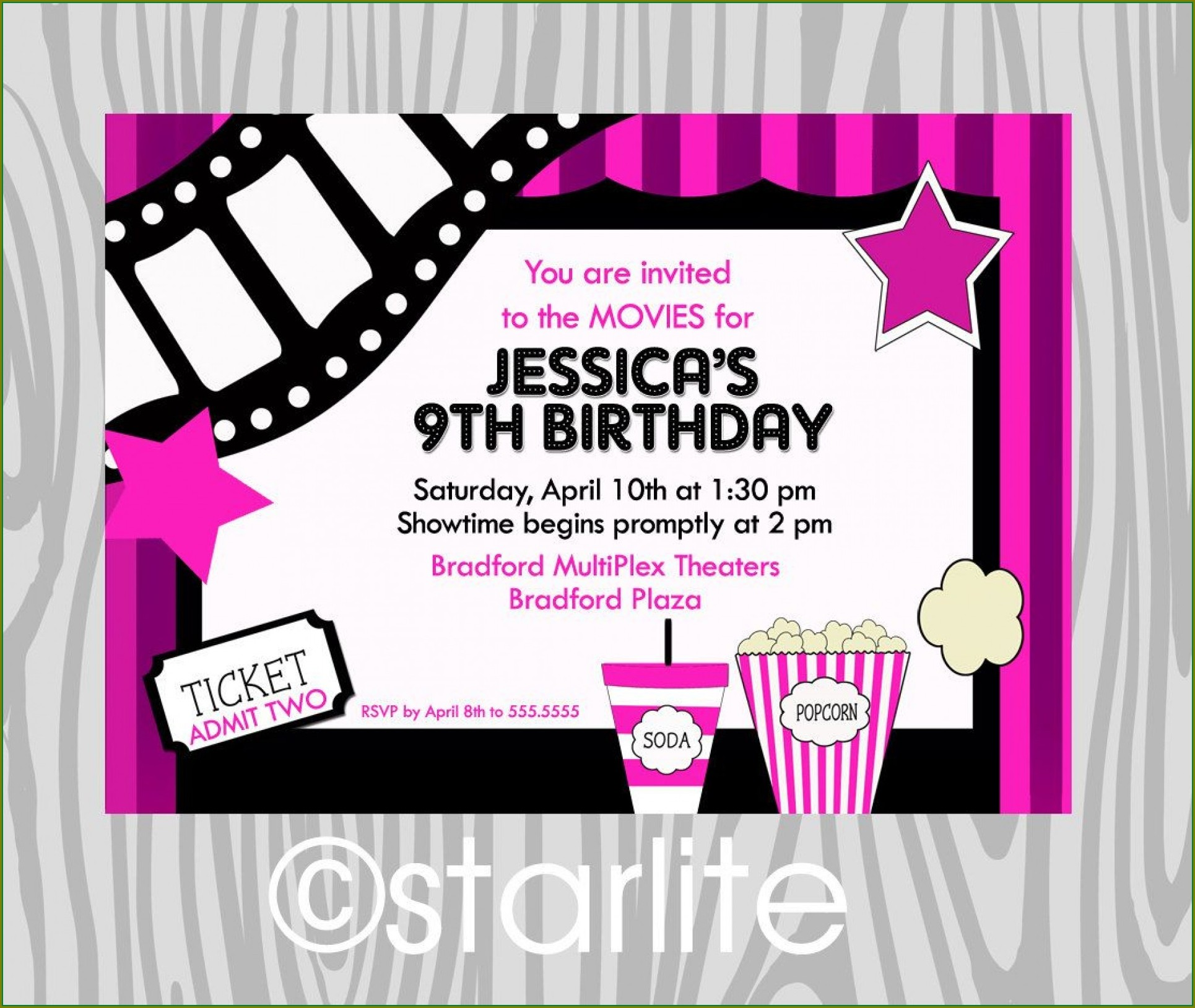 Movie Birthday Party Invitation Template