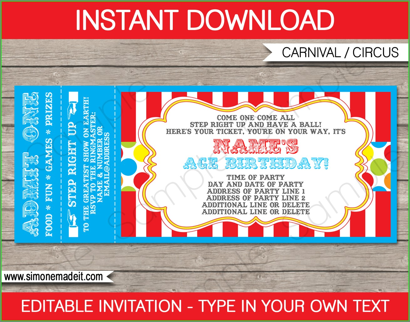 Movie Ticket Invitation Template Free Printable