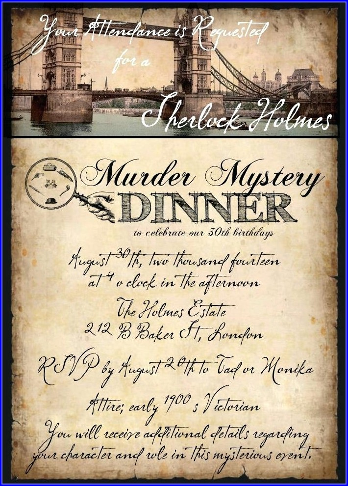 Murder Mystery Dinner Invitation Template