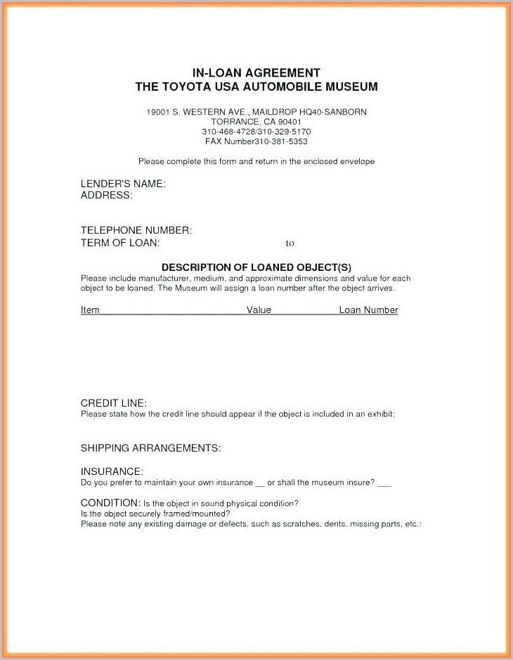 Museum Loan Agreement Template
