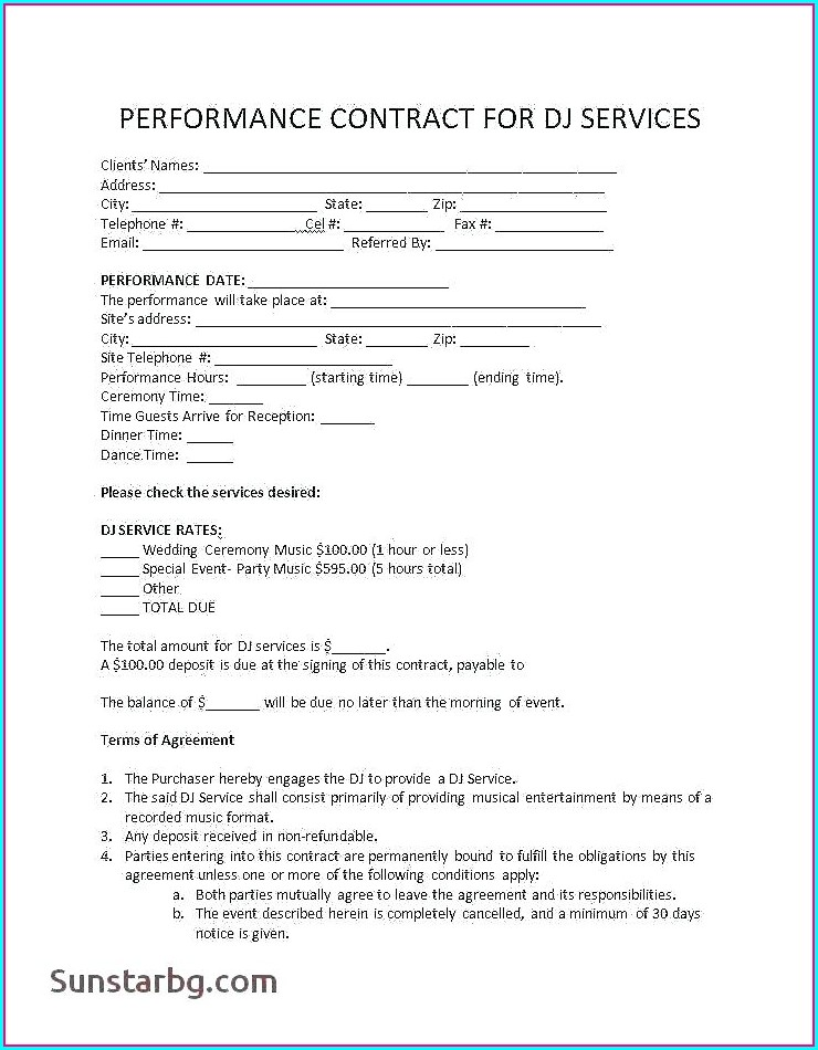 Music Performance Contract Template Free