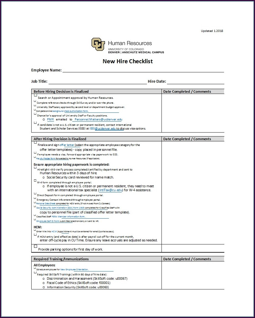 New Employee Training Checklist Template Excel