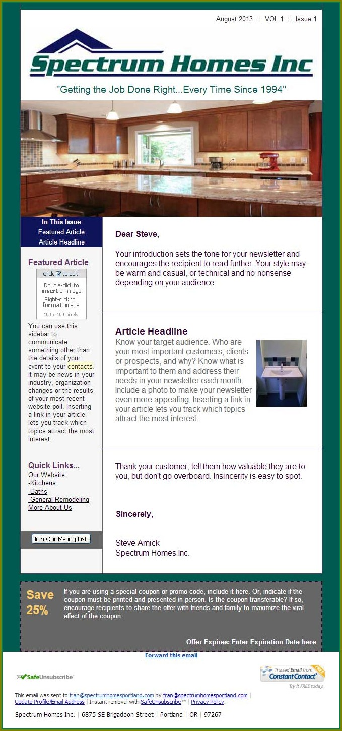 Newsletter Templates Constant Contact Newsletter Examples