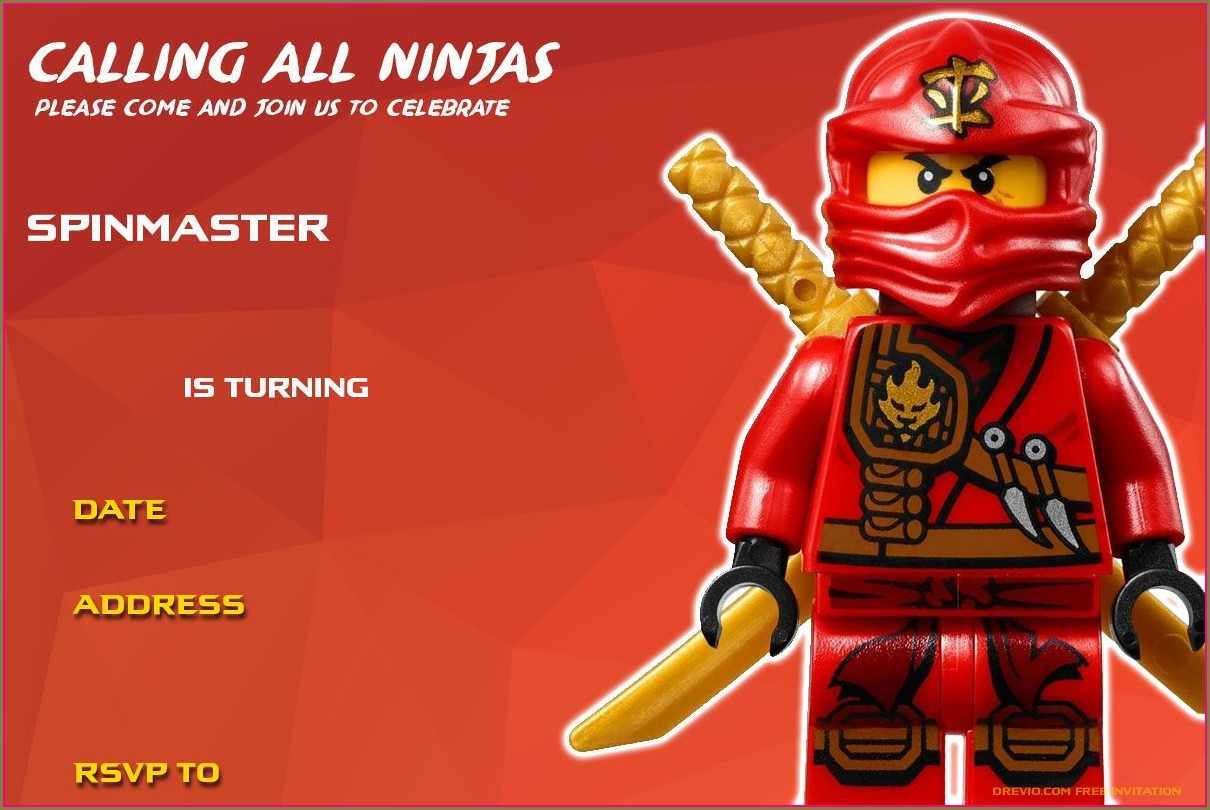 Ninjago Birthday Party Invitation Template Free