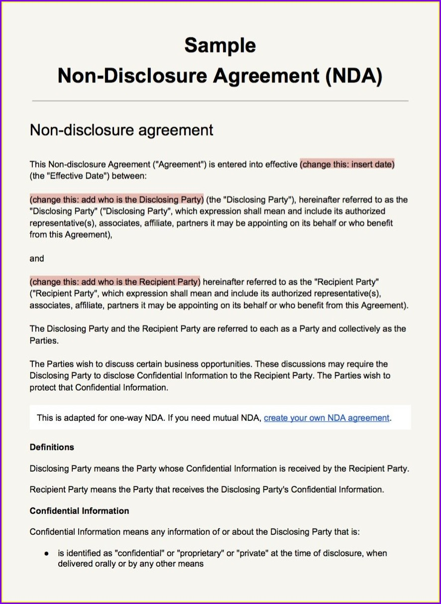 Non Disclosure Agreement Nda Template