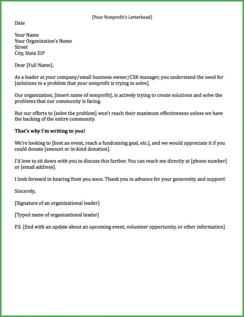 Non Profit Donation Letter Template