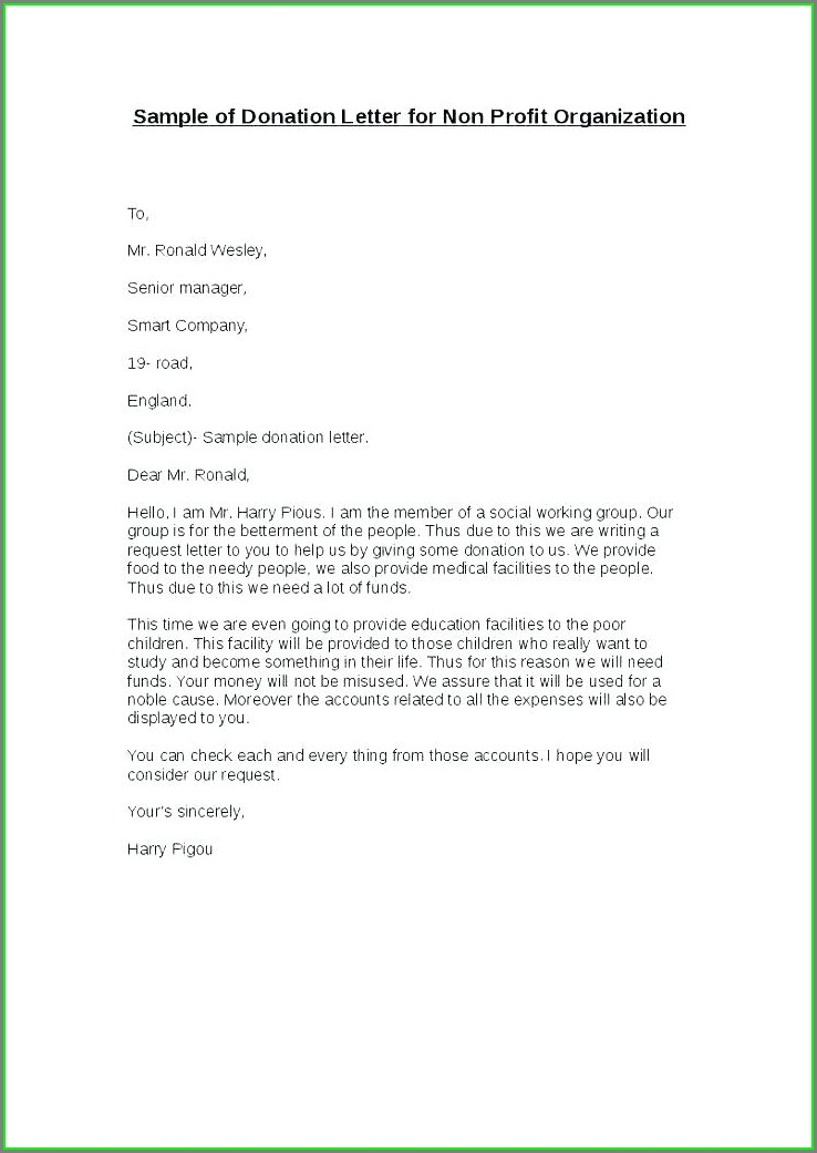 Non Profit In Kind Donation Letter Template