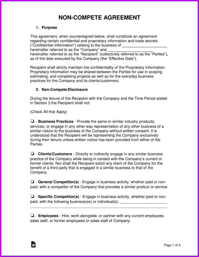 Non Solicitation Agreement Template Free
