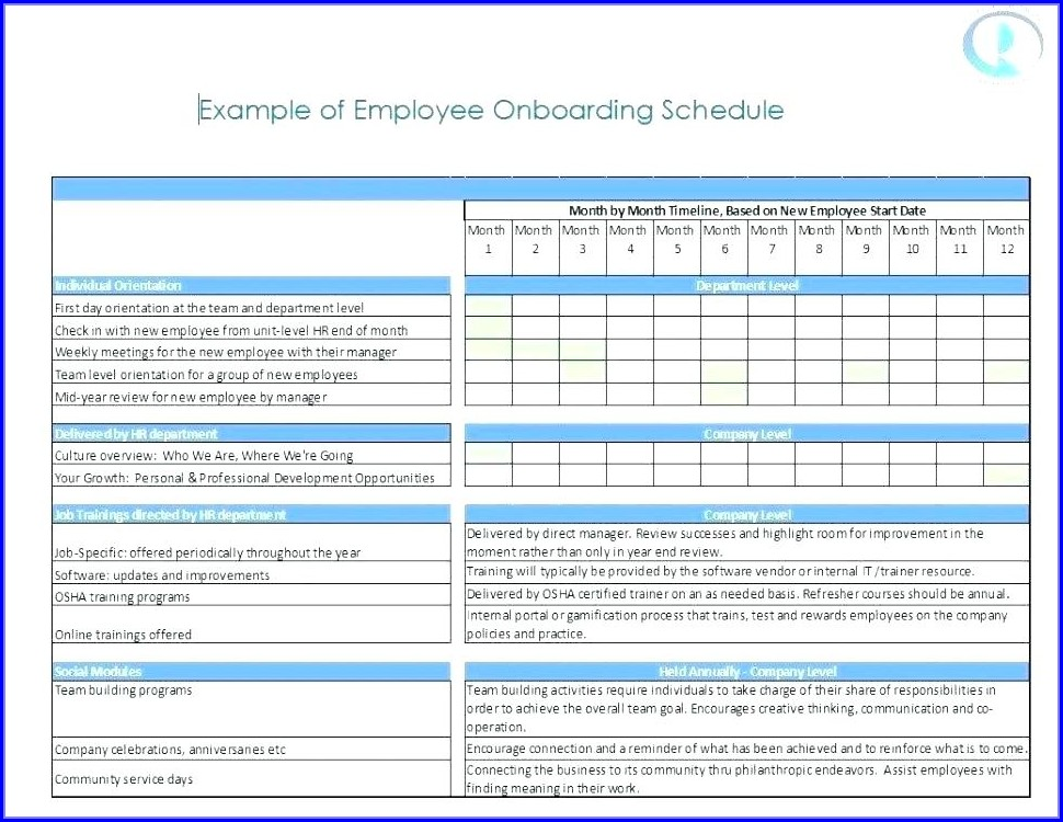 Onboarding Orientation Schedule Template