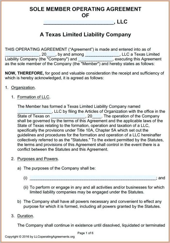 Oregon Llc Operating Agreement Template
